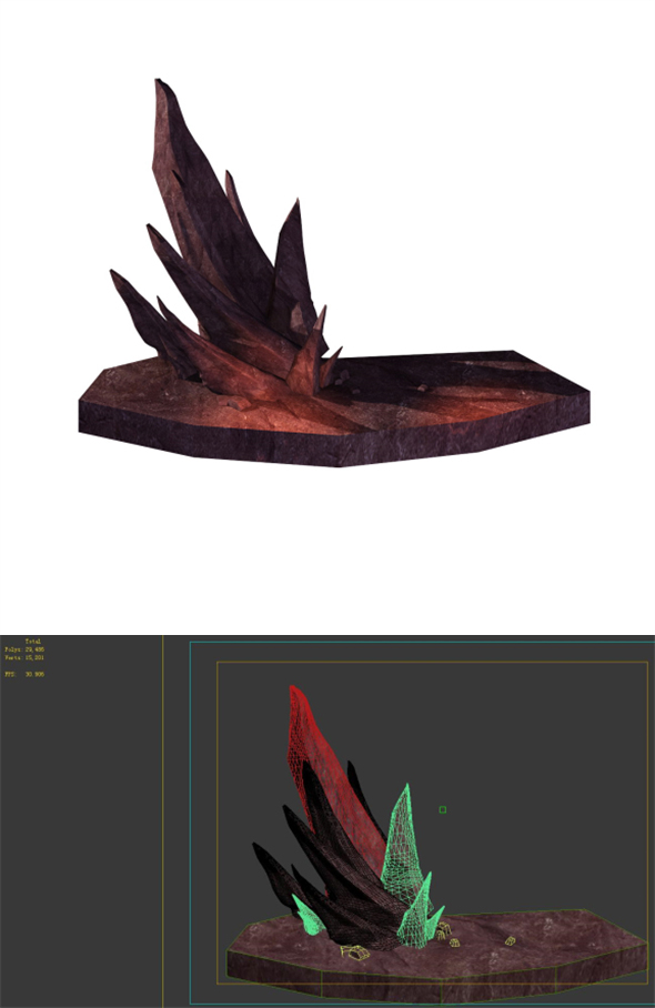 Game Model - Outstanding Volcanic Stone Teeth 02 - 3DOcean Item for Sale