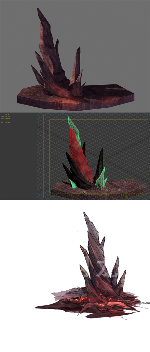 Game Model - Outstanding Volcanic Stone Teeth 03 - 3DOcean Item for Sale