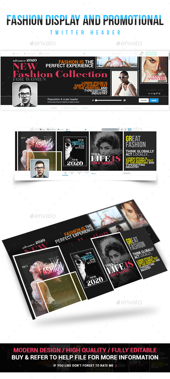 Fashion Display and Promotional Twitter Header - Social Media Web Elements