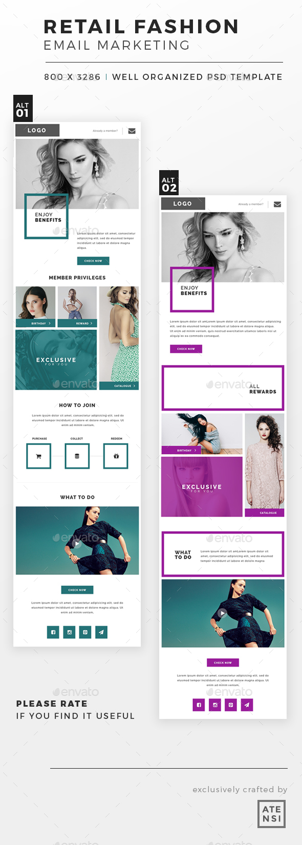 Retail Fashion Email Template - E-newsletters Web Elements