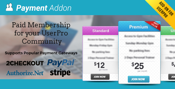 Payment Addon for UserPro - CodeCanyon Item for Sale