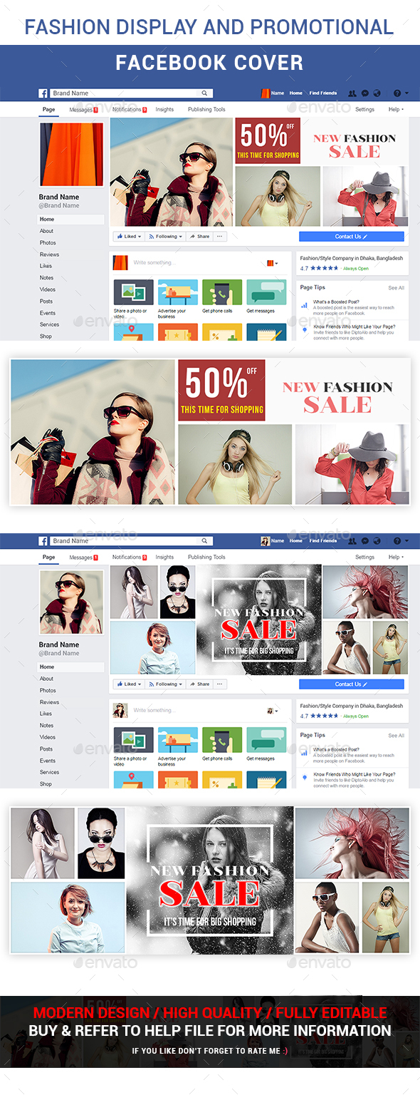 Fashion Display and Promotional Facebook Cover - Social Media Web Elements