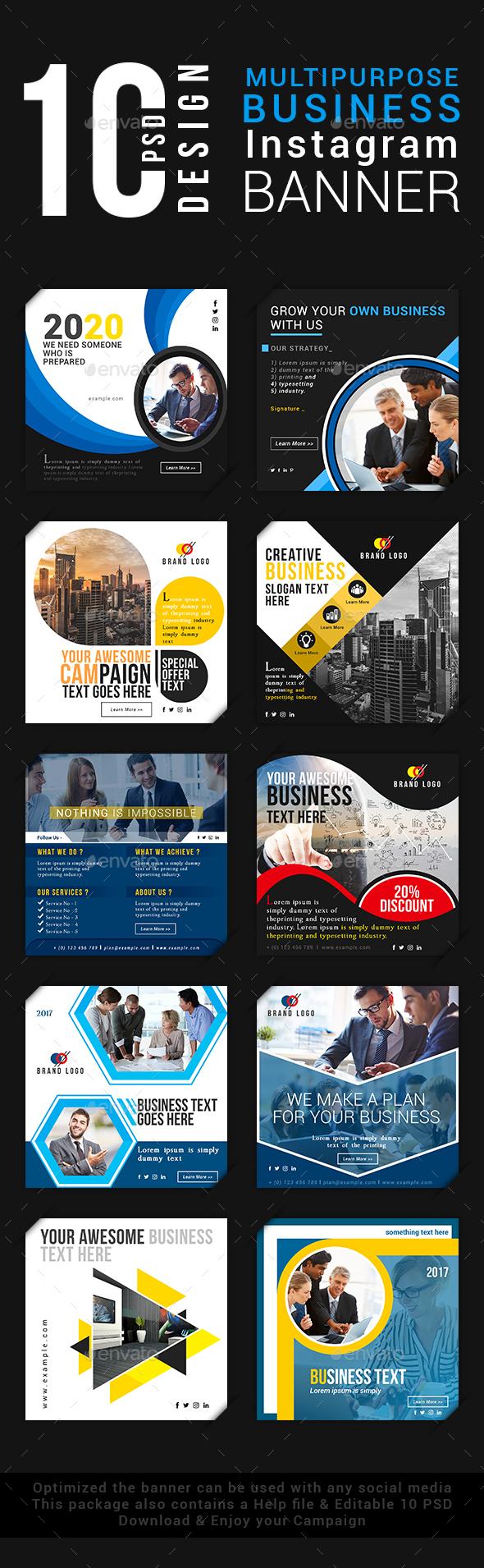 Multipurpose Business Instagram Banner - Social Media Web Elements