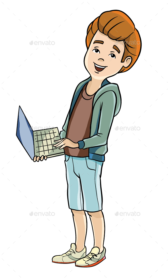 Teenager with a Laptop - People Characters