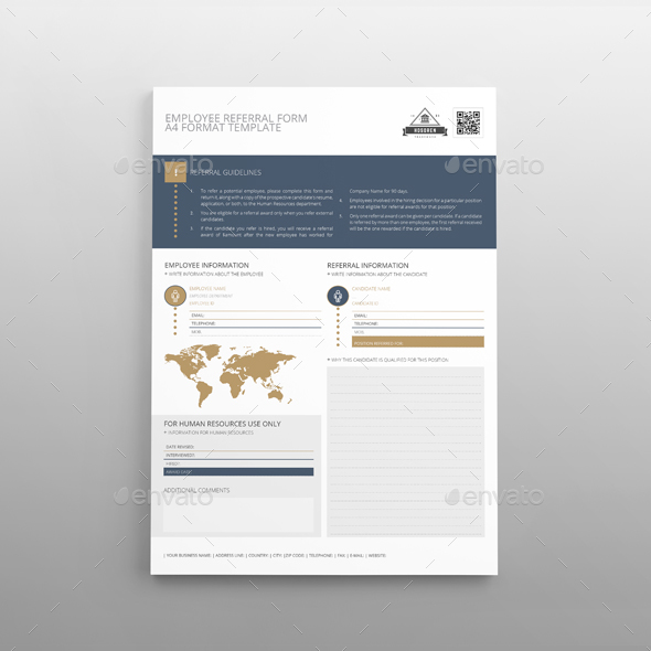 Employee Referral Form A4 Template By Keboto | Graphicriver