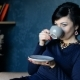 Beautiful Rich Woman Drinks Coffee While Sitting in a Chair - VideoHive Item for Sale