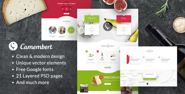 Camembert – Wine Restaurant & Cheese Shop PSD Template