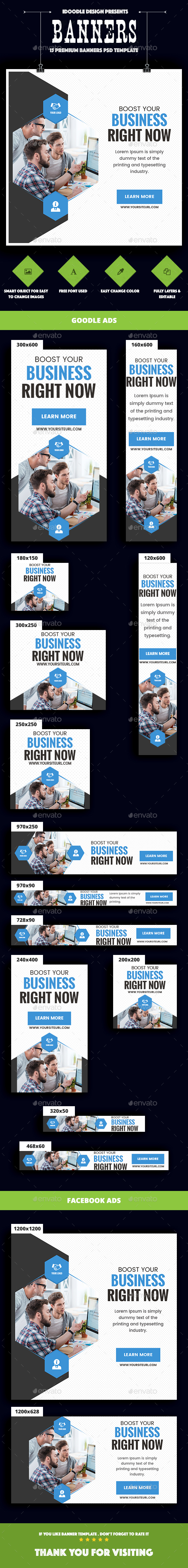 Multipurpose, Business, Corporate  Banners Ad - Banners & Ads Web Elements