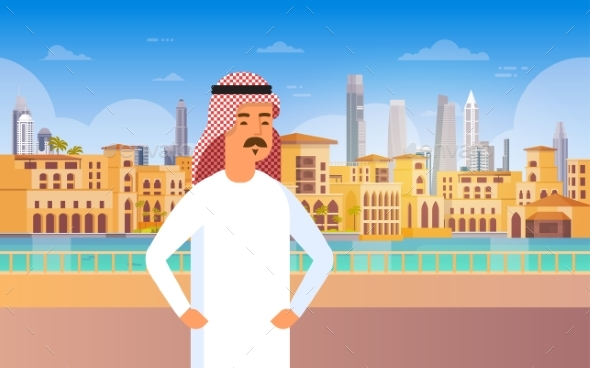 Arab Man Walking Modern City Building Cityscape - People Characters