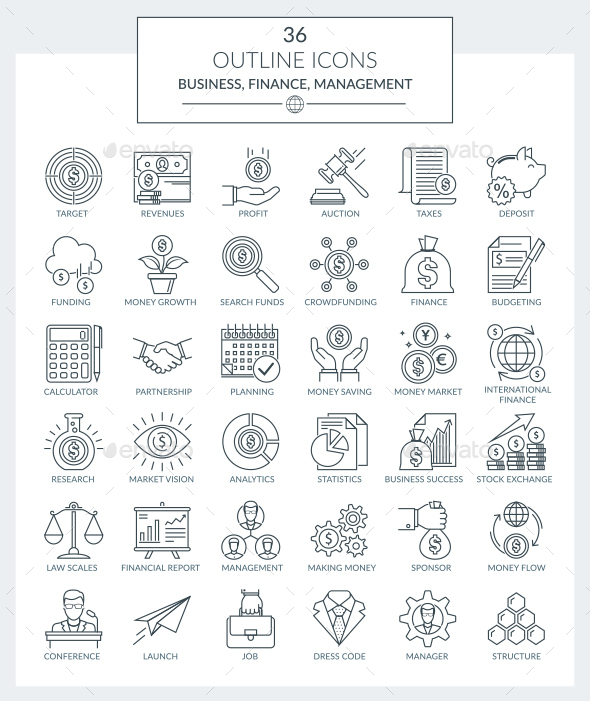 Outline Icons Business and Finance - Business Icons