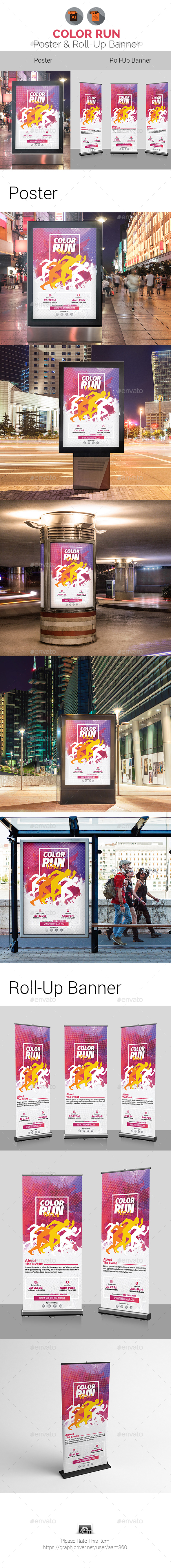 Color Run Festival Poster & Roll-Up Banner - Signage Print Templates