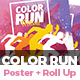Color Run Festival Poster & Roll-Up Banner