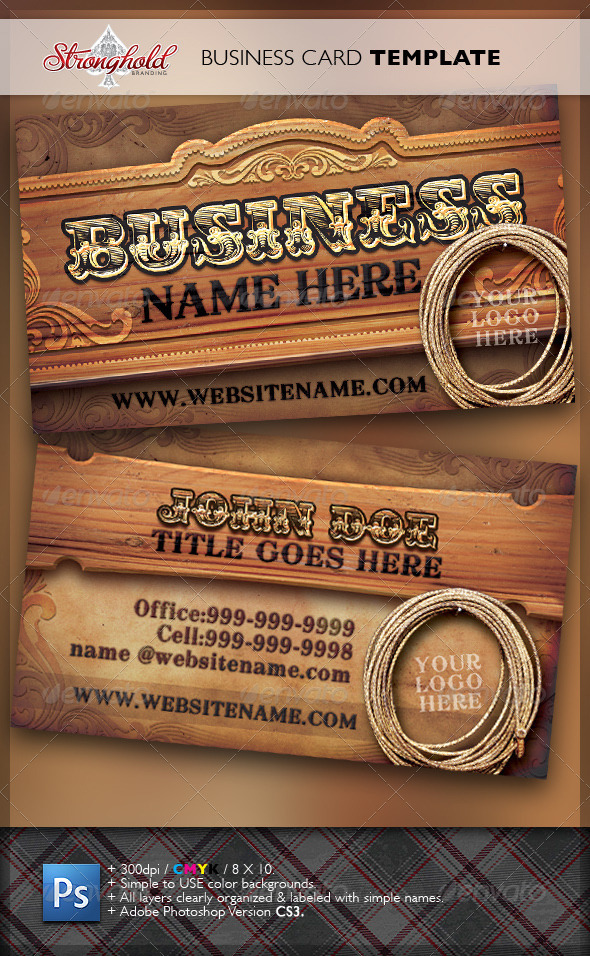 Wild West Business Card Template - Real Objects Business Cards