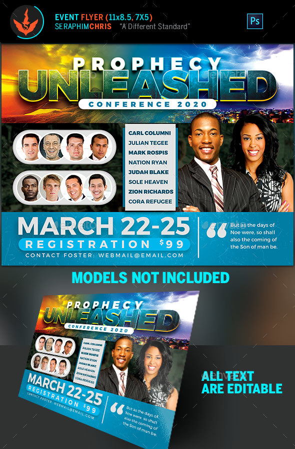 Prophecy Unleashed Conference Flyer Template - Church Flyers
