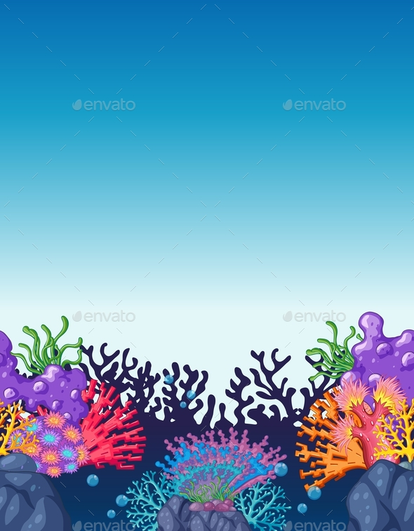 Scene with Colorful Coral Reef Underwater - Landscapes Nature