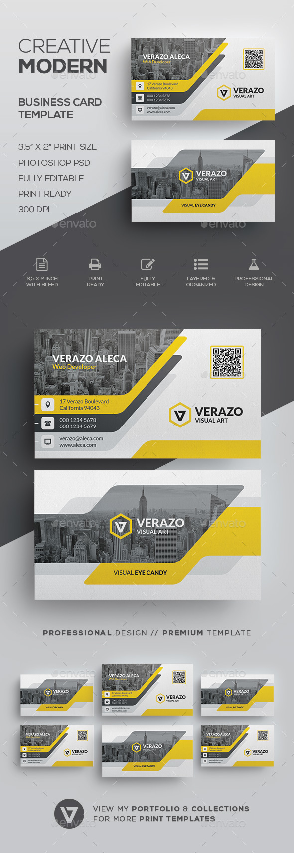 Modern business card template by verazo graphicriver modern business card template corporate business cards reheart Image collections