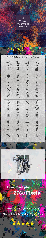 48 Background Splatter and Strokes - Grunge Brushes