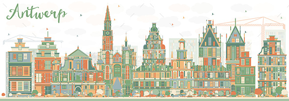 Abstract Antwerp Skyline with Color Buildings. - Buildings Objects