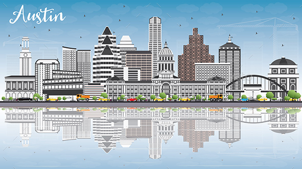 Austin Skyline with Gray Buildings, Blue Sky and Reflections. - Buildings Objects
