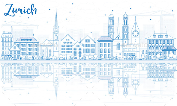 Outline Zurich Skyline with Blue Buildings and Reflection. - Buildings Objects