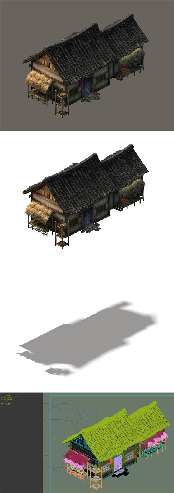 Game model - small village wooden house 01 - 3DOcean Item for Sale