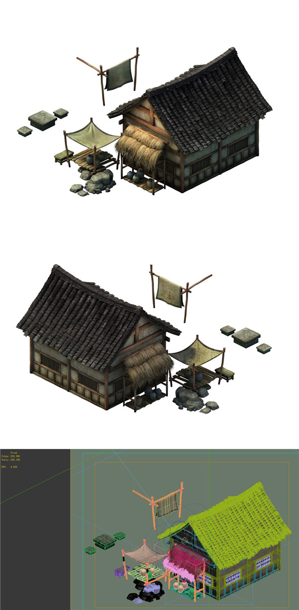 Game model - Small village wooden house 03 - 3DOcean Item for Sale