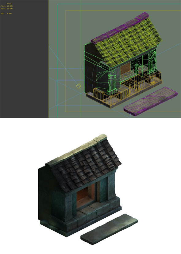 Game model - Small village wooden house 06 - 3DOcean Item for Sale