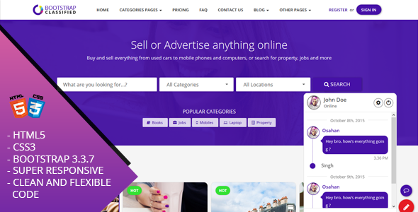 OBootstrap Classified | Bootstrap Responsive Website Template
