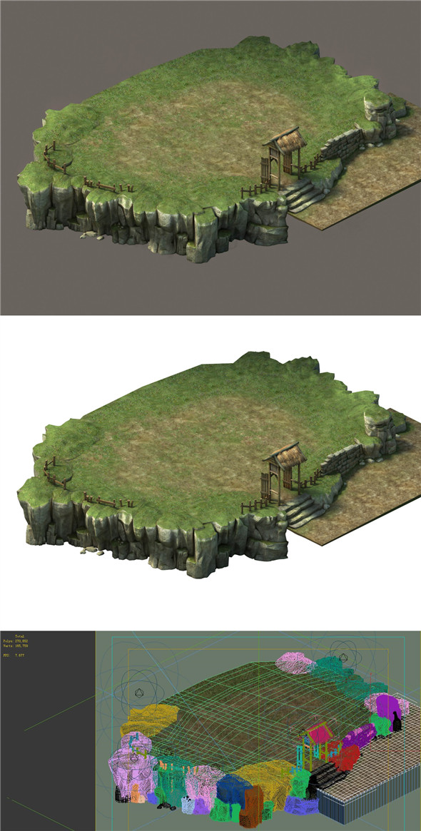 Game Model - Small Village Hill Road 02 - 3DOcean Item for Sale