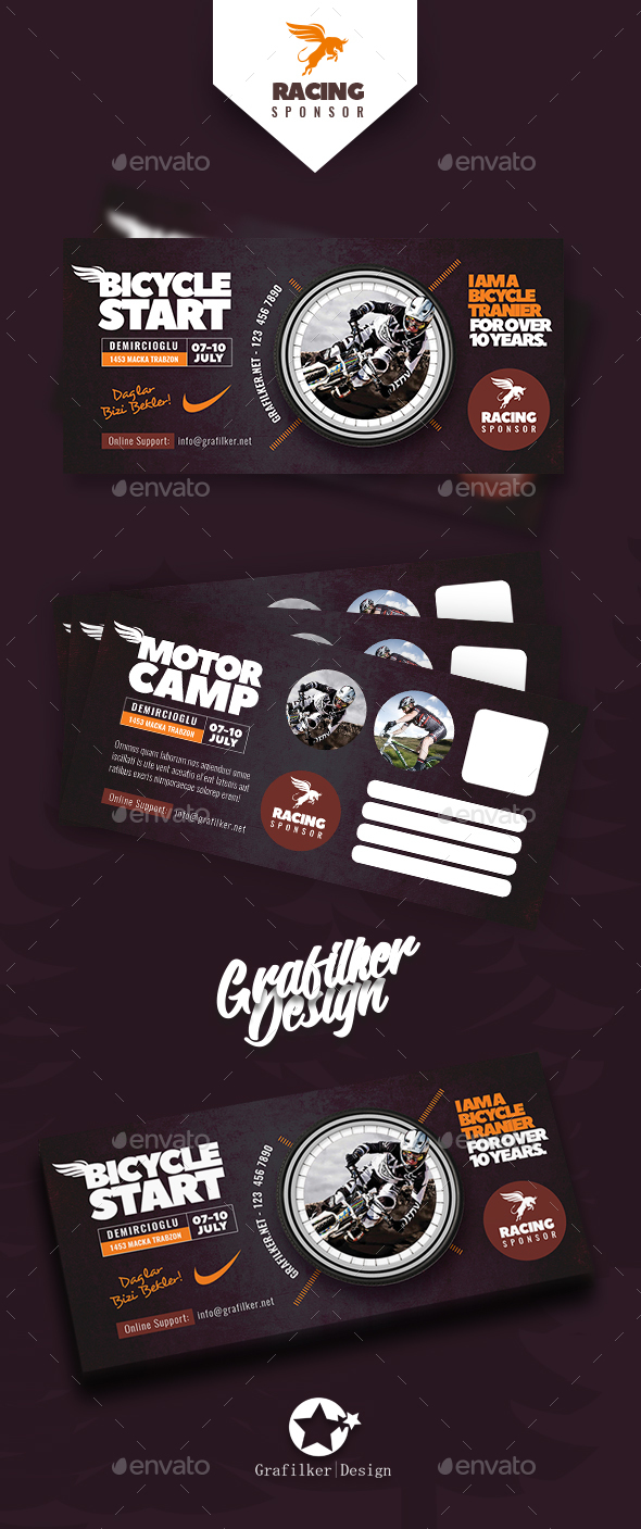 Bicycle Racing Postcard Templates - Cards & Invites Print Templates