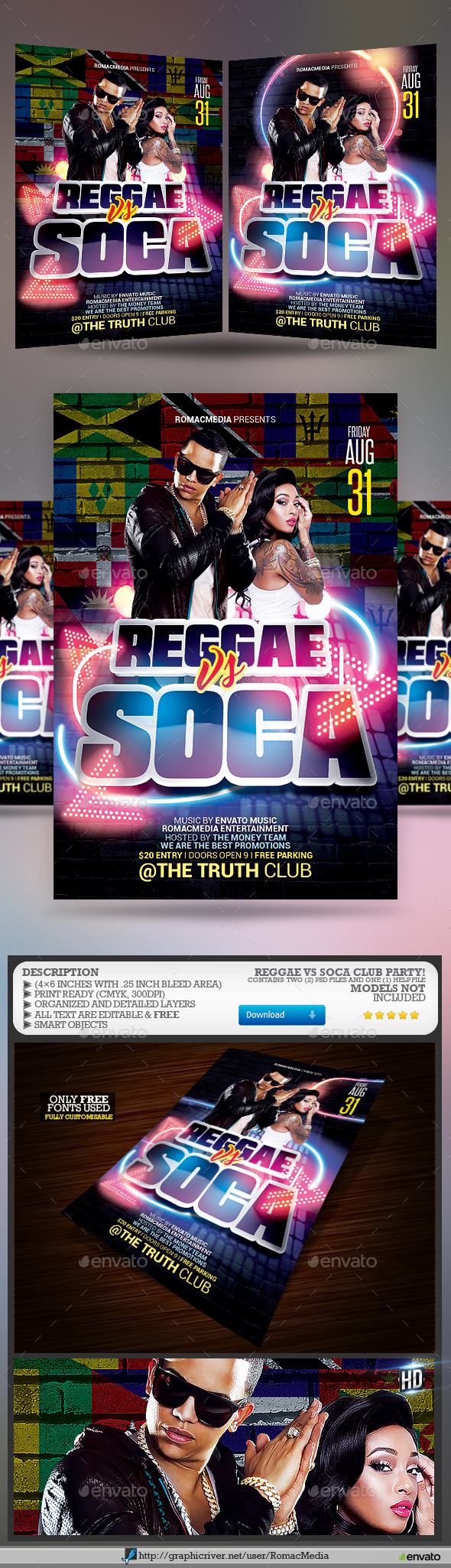 Reggae vs Soca Club Party Flyer - Clubs & Parties Events