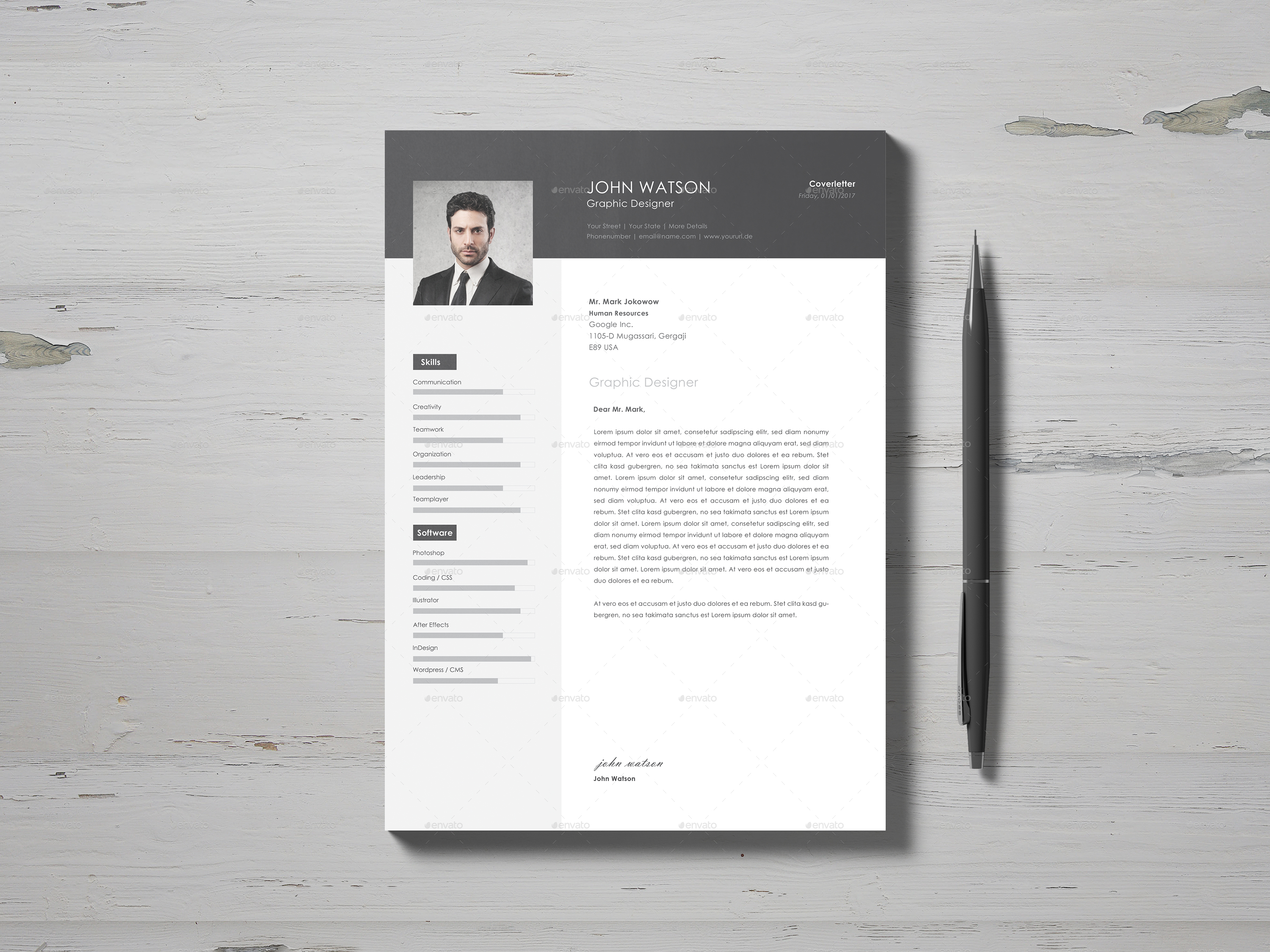professional resume with cover letter    portfolio by