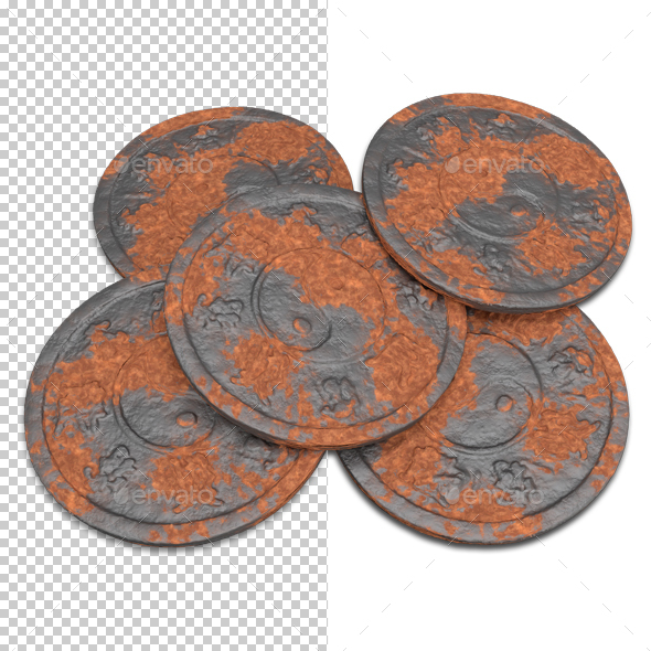Rusted Coins - Objects 3D Renders