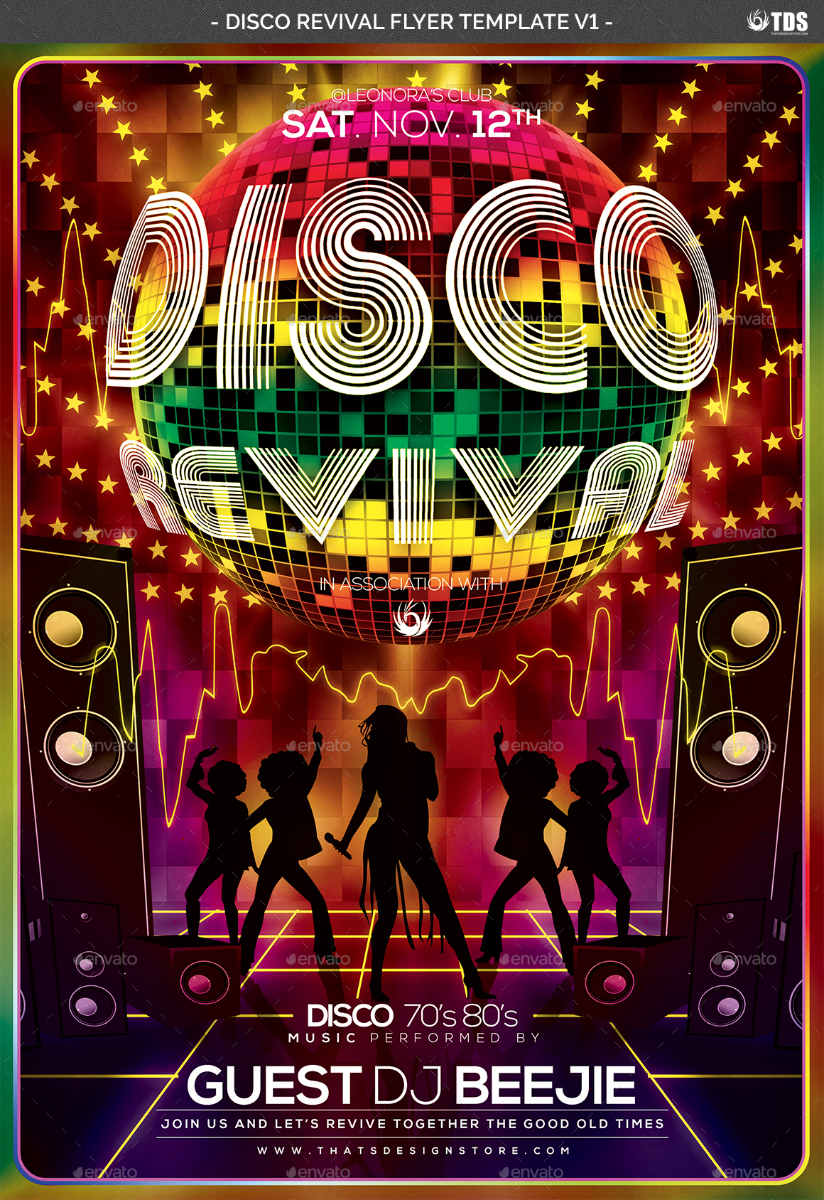 Disco Revival Flyer Template V1 by lou606 | GraphicRiver
