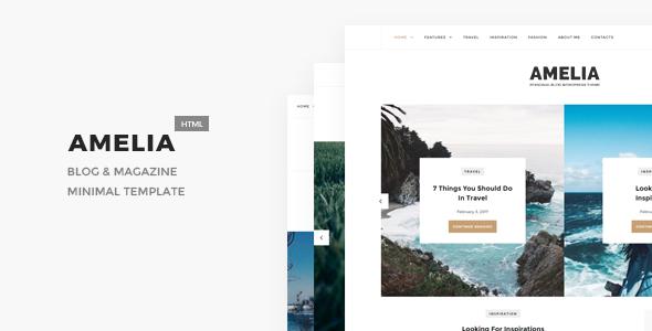 Amelia - Minimal Blog & Magazine Template - Personal Site Templates