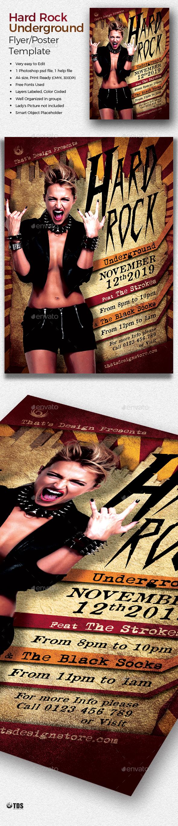 Hard Rock Underground Flyer Template - Concerts Events