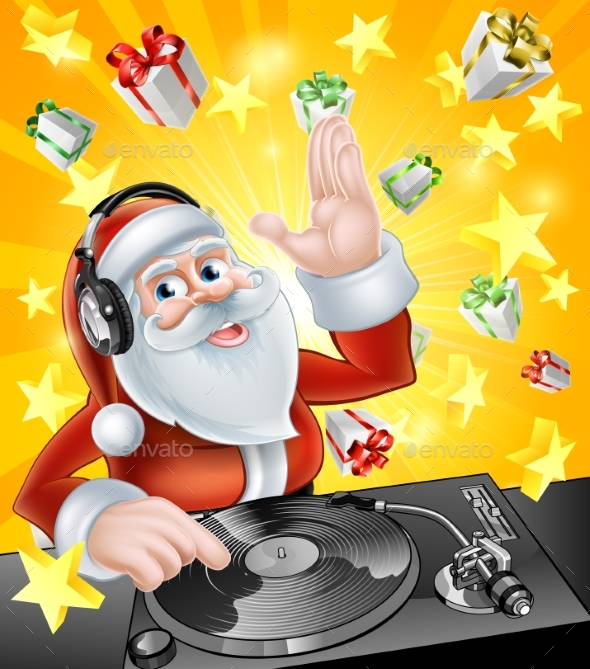Christmas Party DJ Santa - Seasons/Holidays Conceptual