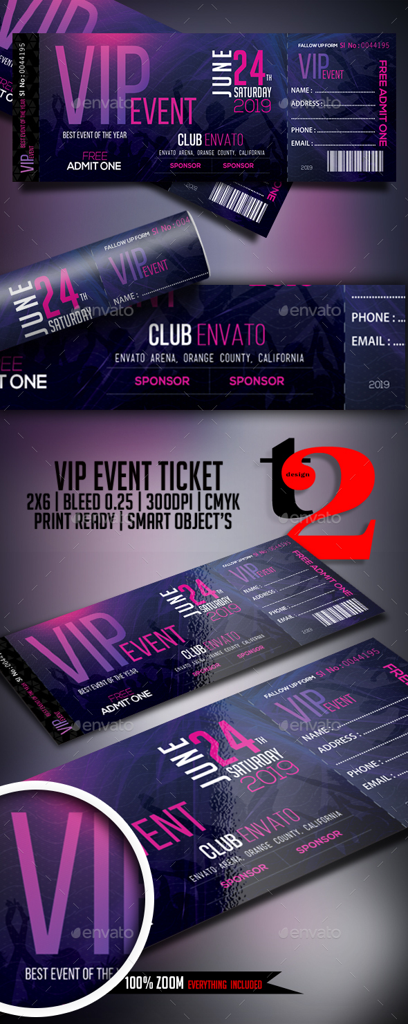 VIP Event Tickets Template by Take2Design – Vip Ticket Template