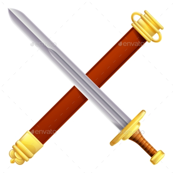 Crossed Sword and Scabbard - Buildings Objects