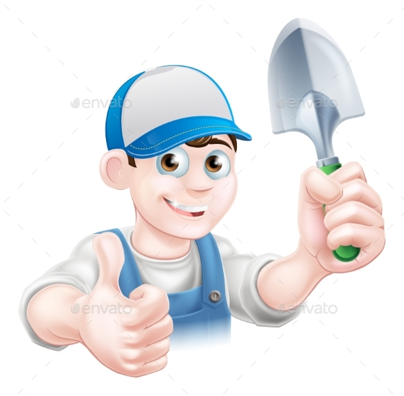Thumbs Up Gardener with Trowel - People Characters