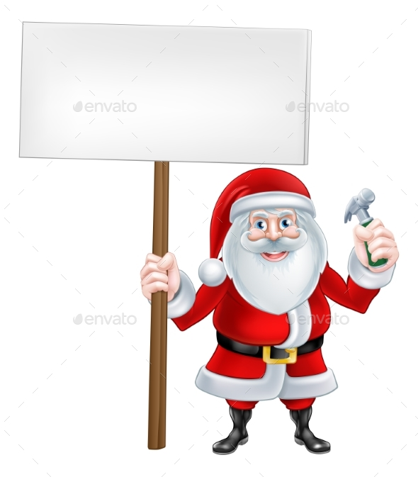 Santa Hammer Sign - Christmas Seasons/Holidays