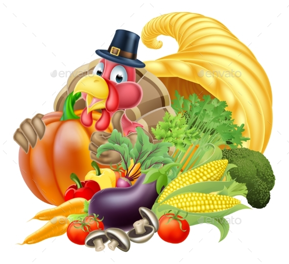 Cornucopia and Thanksgiving Turkey - Food Objects