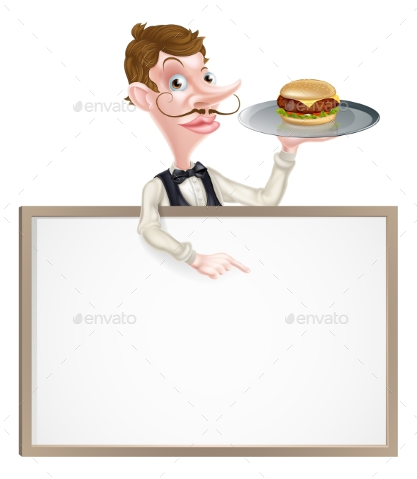 Burger Waiter Pointing at Sign - Miscellaneous Vectors