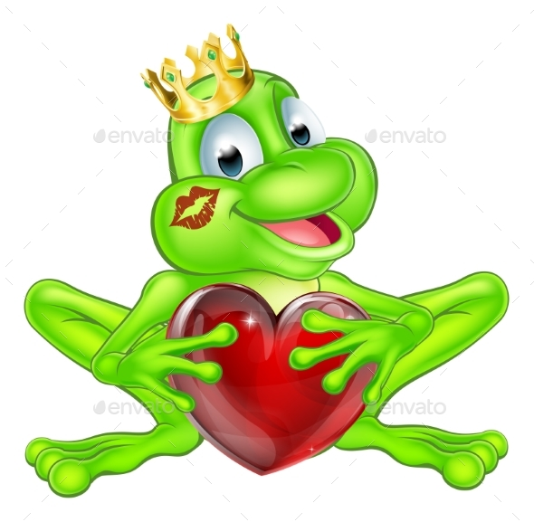 Frog Prince with Crown and Heart - Animals Characters