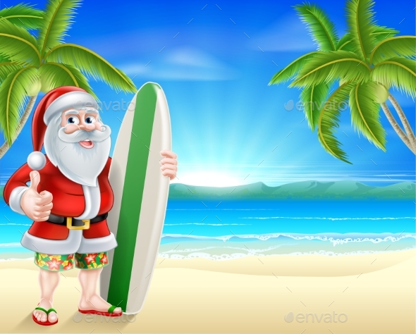 Santa Surfer on Tropical Beach - Christmas Seasons/Holidays