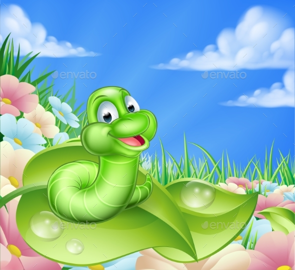 Cartoon Caterpillar in Meadow - Landscapes Nature