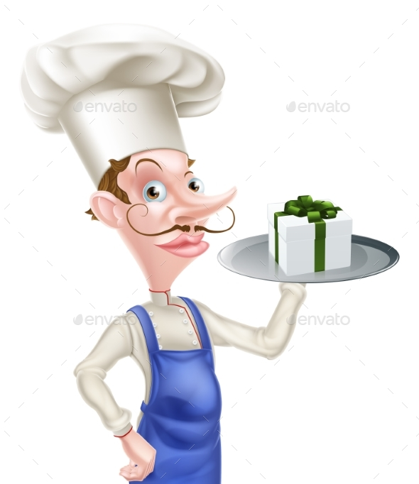 Chef with Present - Food Objects