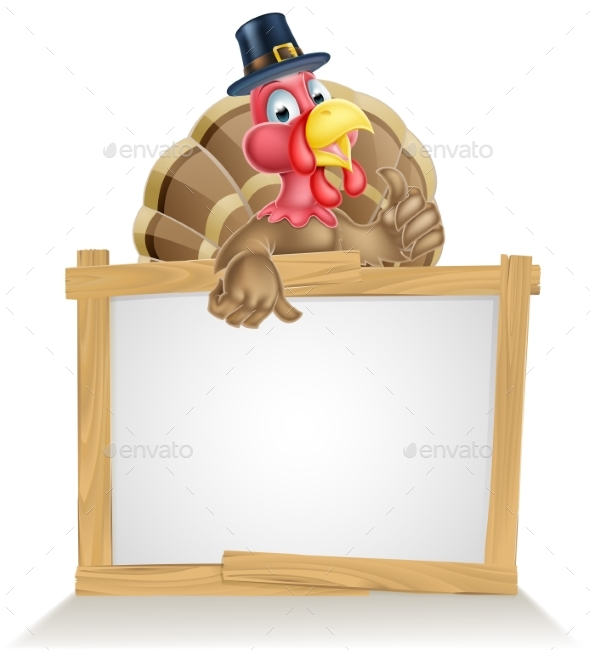 Thanksgiving Pilgrim Hat Turkey Sign - Animals Characters