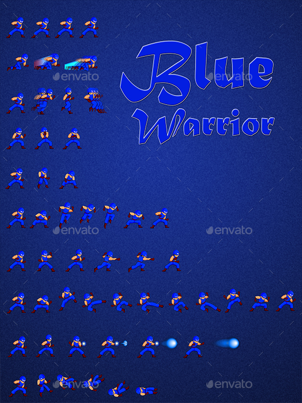 Blue Warrior - Sprites Game Assets