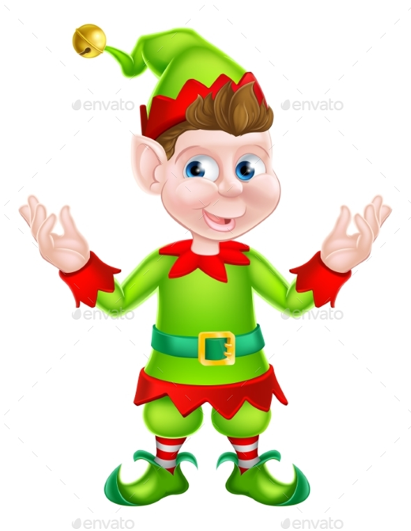 Cartoon Christmas Elf - Christmas Seasons/Holidays